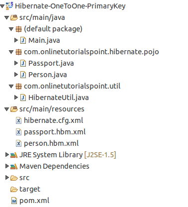 Hibernate One to One Mapping Project