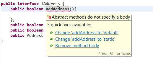 Default and Static methods in Interface error1