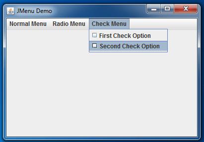 JMenu Example Check