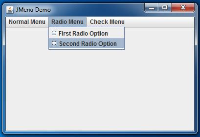 JMenu Example Radio