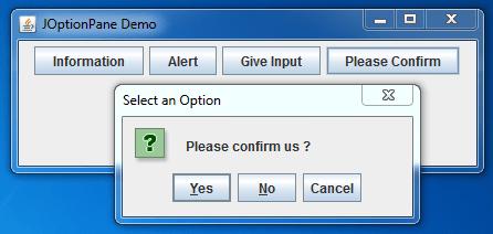 JOptionPane Confirm