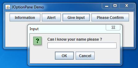JOptionPane Input