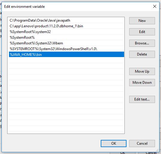 JAVA_HOME on Windows10
