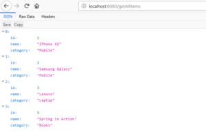 Spring Boot H2 Database GetAllItems 2