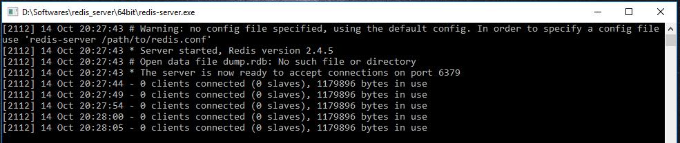 Redis server on windows 10 2