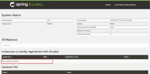 Spring Boot Eureka Server Dash Board