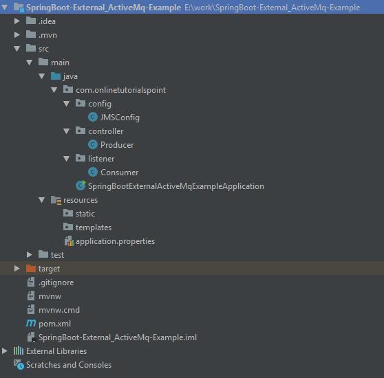 External Apache ActiveMQ Spring Boot Example Application-min
