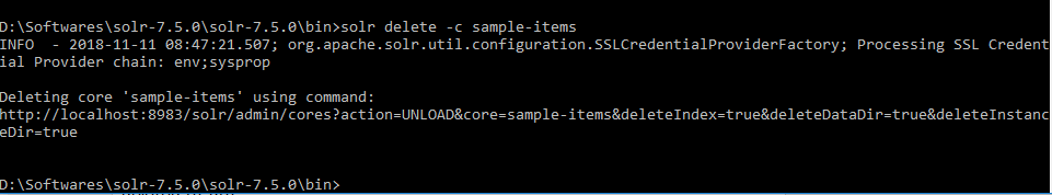 Install Apache Solr on Windows 10 Creating Core Delete Core-min